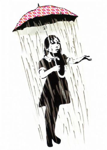 BANKSY - BROLLY GIRL - RED canvas print - self adhesive poster - photo print